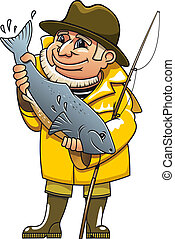 Smiling fisherman in cartoon style catching a fish