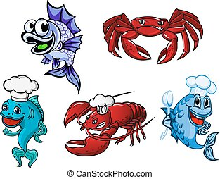 Smiling fishes, crayfish and crab cartoon characters