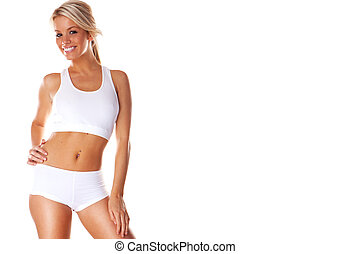Smiling fitness beauty sexy woman exercising isolated on...
