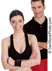 Smiling fitness trainers