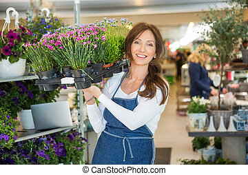 Smiling Florist Carrying Crate Full Of Flower Plants In Shop