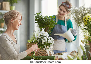 Smiling florists at work