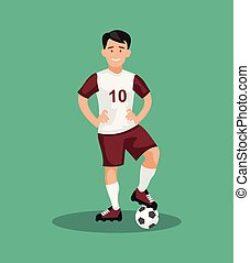 Smiling football player standing with a ball. Vector illustration