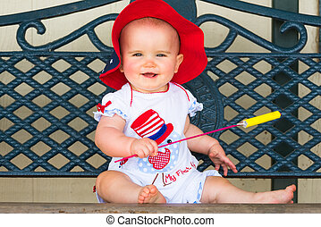 Smiling Fourth of July Baby