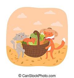 Smiling fox and cat carrying basket full of fresh seasonal vegetables during harvesting