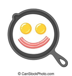 Funny smiling fried eggs and bacon in skillet. Breakfast food cartoon vector clip art illustration.