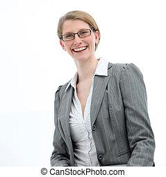 Smiling friendly businesswoman
