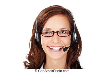 Smiling friendly call centre operator