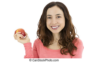 Smiling friendly woman holding an apple