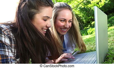 Smiling friends using a laptop