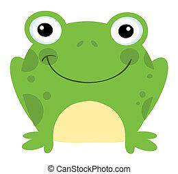 Smiling Frog - Head Frog Cartoon Character
