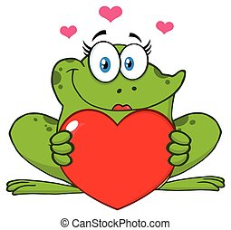 Smiling Frog Female Cartoon Mascot Character Holding A Valentine Love Heart