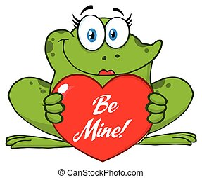 Smiling Frog Female Cartoon Mascot Character Holding A Valentine Love Heart With Text Be Me