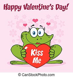 Smiling Frog Female Cartoon Mascot Character Holding A Valentine Love Heart With Text Kiss Me