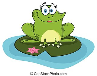 Smiling Frog Female Cartoon Mascot Character In A Pond