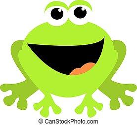 Smiling frog, illustration, vector on white background.