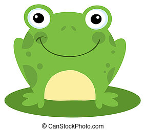 Smiling Frog On A Lily Pad - Happy Head Frog Cartoon...