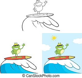 Smiling Frog Surfing On Waves