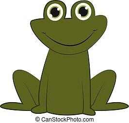 Smiling frog vector or color illustration