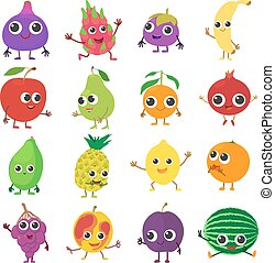 Smiling fruit icons set, cartoon style