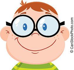 Smiling Geek Boy Head