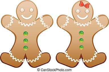 Christmas cookie happy gingerbread boy and girl.