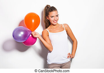 smiling girl and balloons