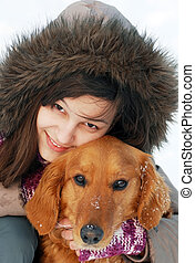 Smiling girl and her dog