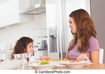 Smiling girl and her mother at the dinner table