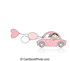 Smiling girl behind wheel pink car for your design