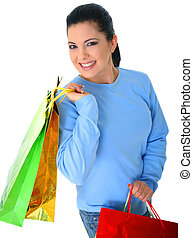 Smiling Girl Carry Shopping Bags