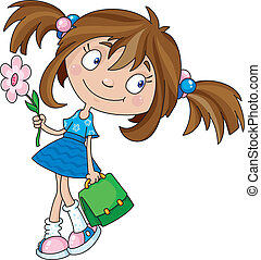 smiling girl - Illustration of a smiling girl