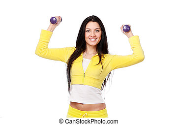 Smiling girl doing fitness workout