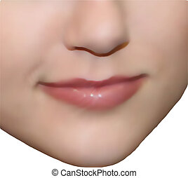 Smiling girl face. Vector illustration