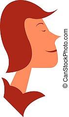Smiling girl face vector or color illustration