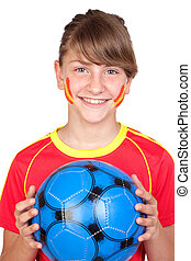 Smiling girl fan of the Spanish team