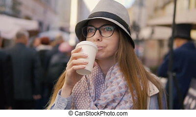 Smiling Girl Having Coffee