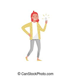 Smiling girl holding an energy saving light bulb, eco friendly people concept, protection and preservation of the environment vector Illustration on a white background