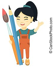Smiling girl holding big pencil and paintbrush.