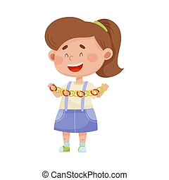 Smiling Girl Holding Made from Paper Garland Vector Illustration