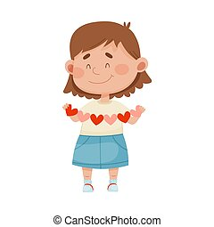 Smiling Girl Holding Made from Paper Heart Garland Vector Illustration