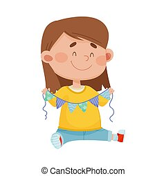 Smiling Girl Holding Made from Paper Triangle Garland Vector Illustration
