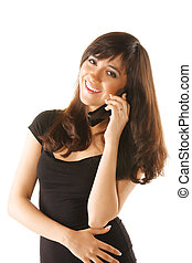 Smiling girl in black with mobile