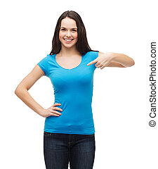 smiling girl in blank blue t-shirt - t-shirt design and...