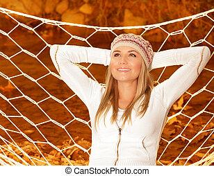 Smiling girl in hammock