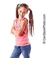 Smiling girl in pink dress