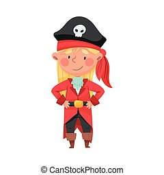 Smiling Girl in Pirate Costume Wearing Hat with Skull Vector Illustration