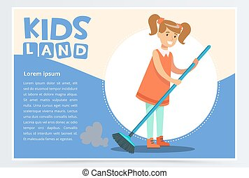 Smiling girl in red dress sweeping the floor. Kid helping with housekeeping and doing house cleanup. Creative blue card with place for text. Flat vector.