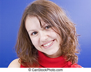 smiling girl in red