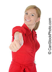 smiling girl in red with thumb up